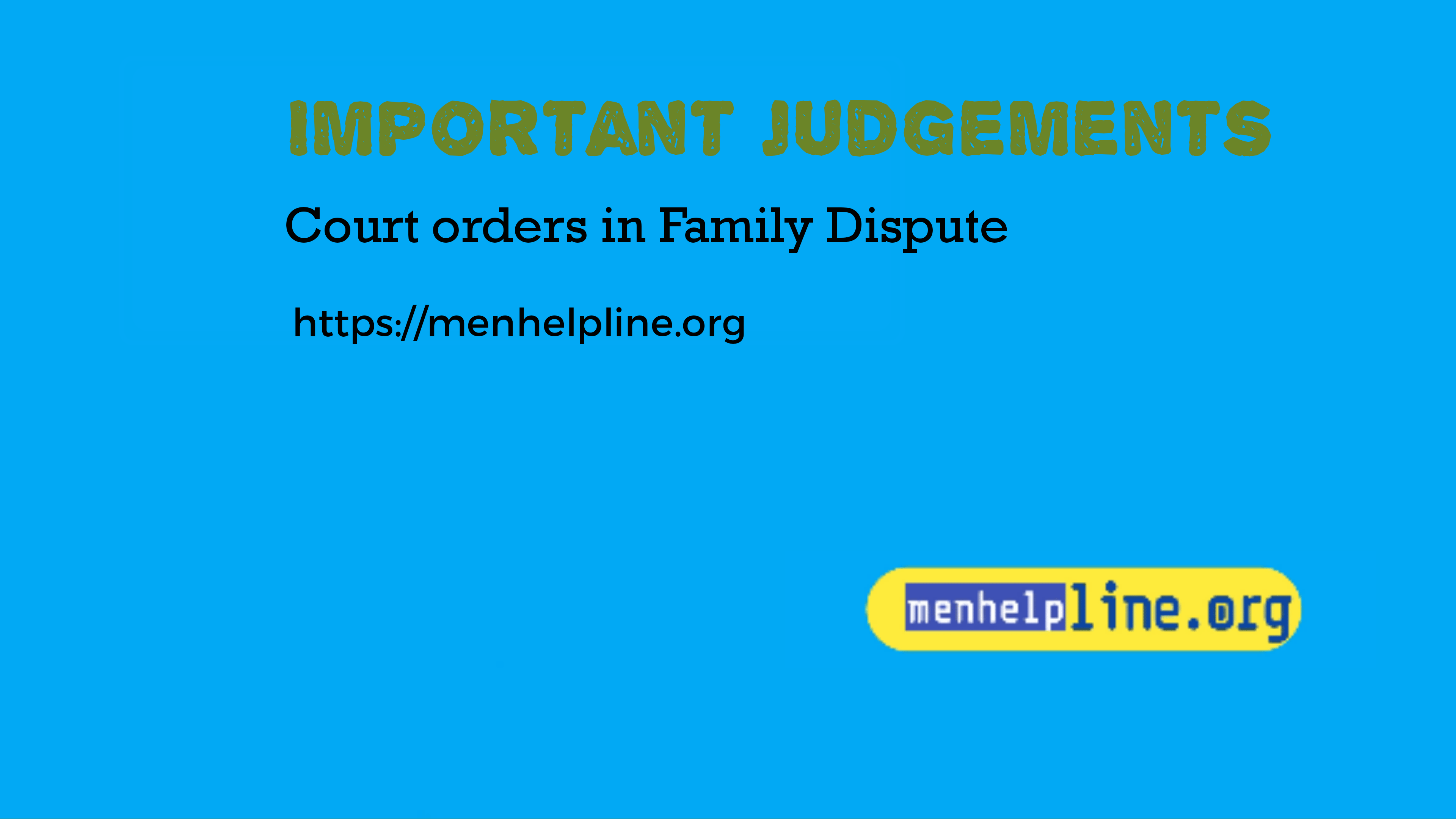 Important Judgement at Men Helpline